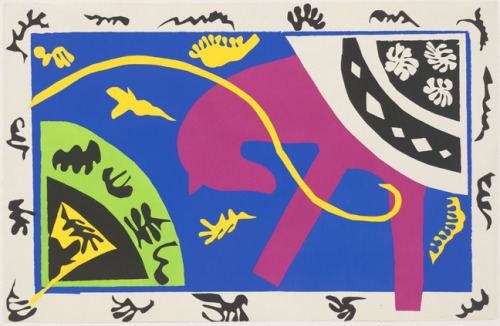 7th_grade_horse_rider_and_clown_plate_v_from_jazz_1947_henri_matisse