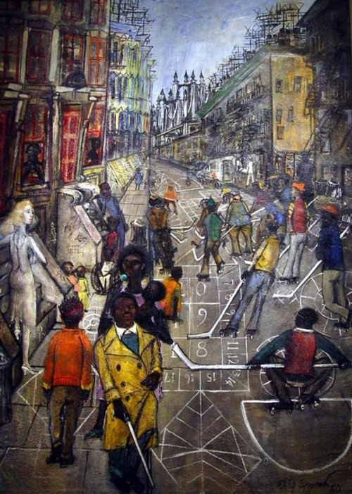 7th_grade_sunny_side_of_the_street_by_philip_evergood_in_1950