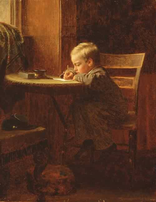 7th_grade_writing_to_father_by_eastman_johnson